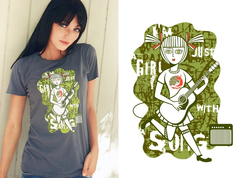 Citizen Reindeer Girl With a song Tee