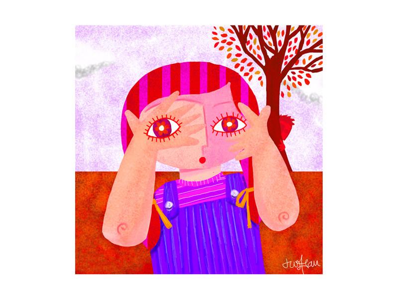 Community Magazine - Girl Covering Eyes Color Illustration