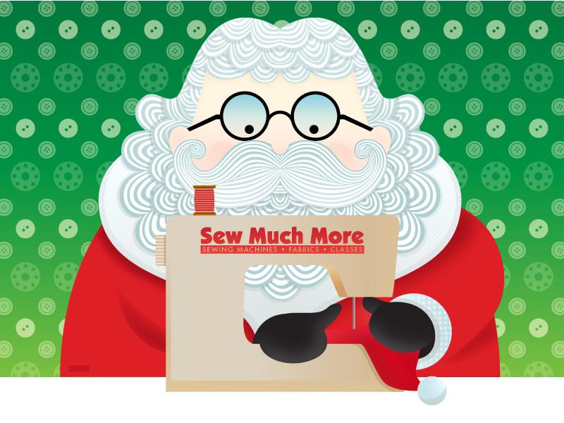 Sew Much More - Xmas Santa Sewing illustration